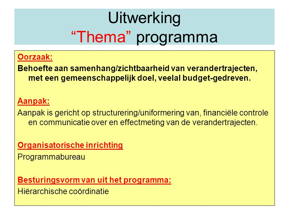 Uitwerking Thema programma