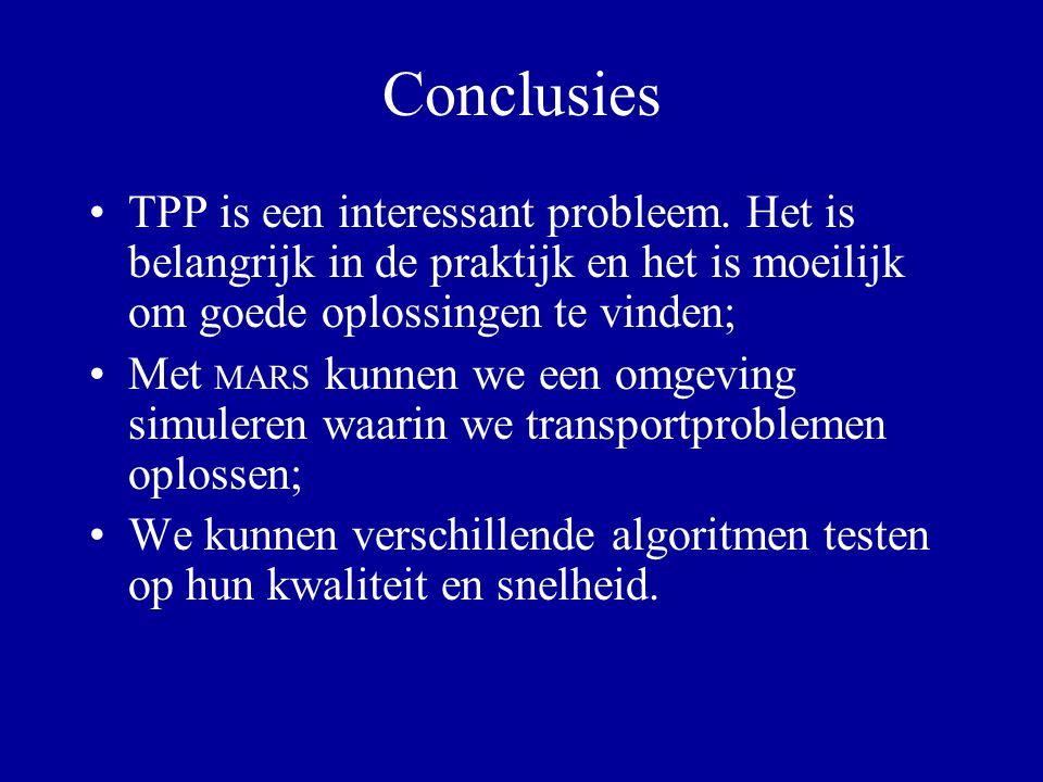 Conclusies TPP is een interessant probleem. Het is belangrijk in de praktijk en het is moeilijk om goede oplossingen te vinden;