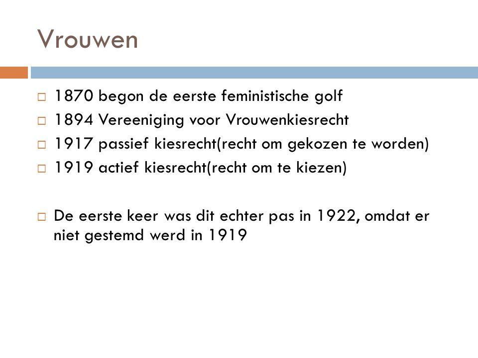 Vrouwen 1870 begon de eerste feministische golf