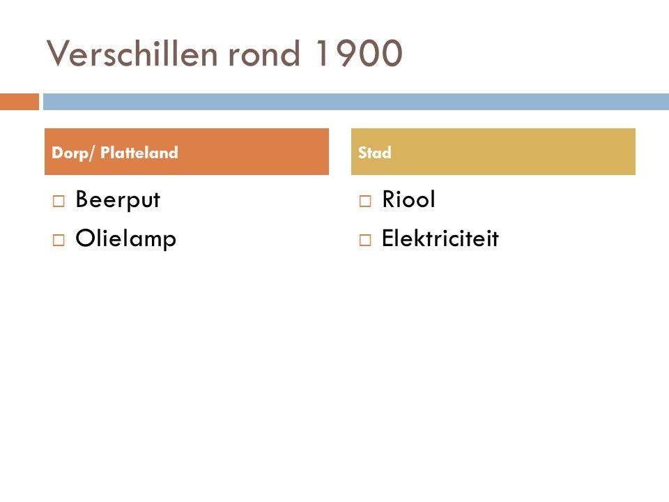 Verschillen rond 1900 Beerput Olielamp Riool Elektriciteit