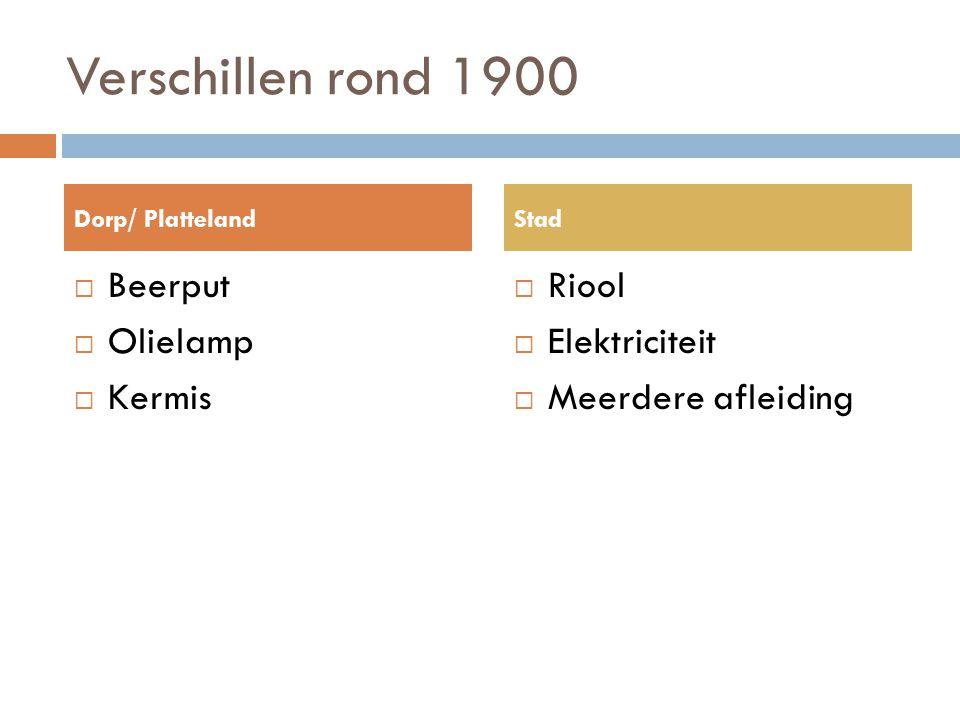 Verschillen rond 1900 Beerput Olielamp Kermis Riool Elektriciteit