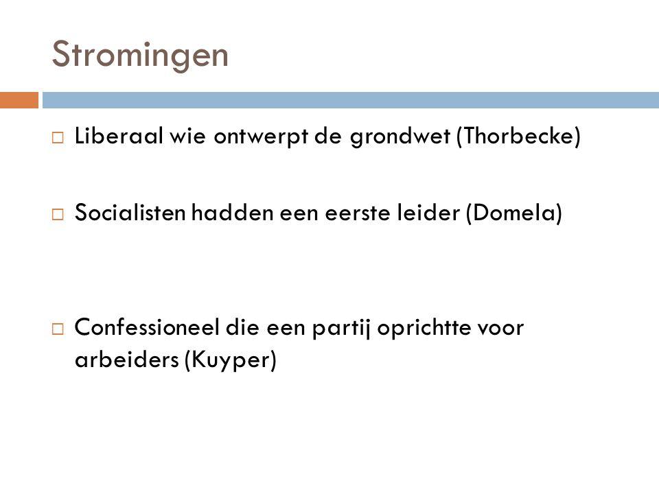 Stromingen Liberaal wie ontwerpt de grondwet (Thorbecke)