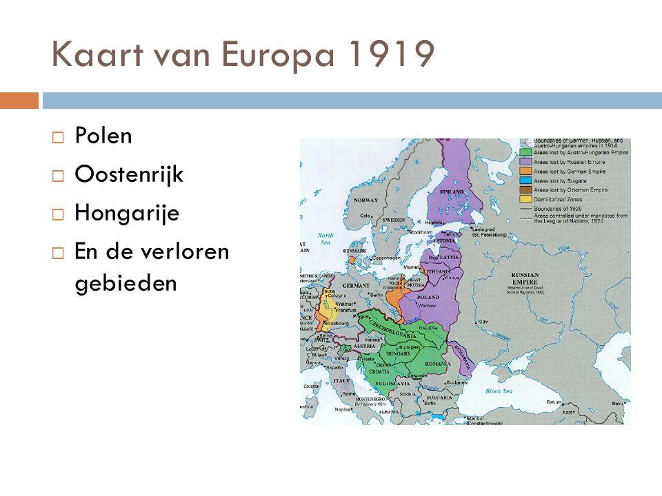 Kaart van Europa 1919 Polen Oostenrijk Hongarije