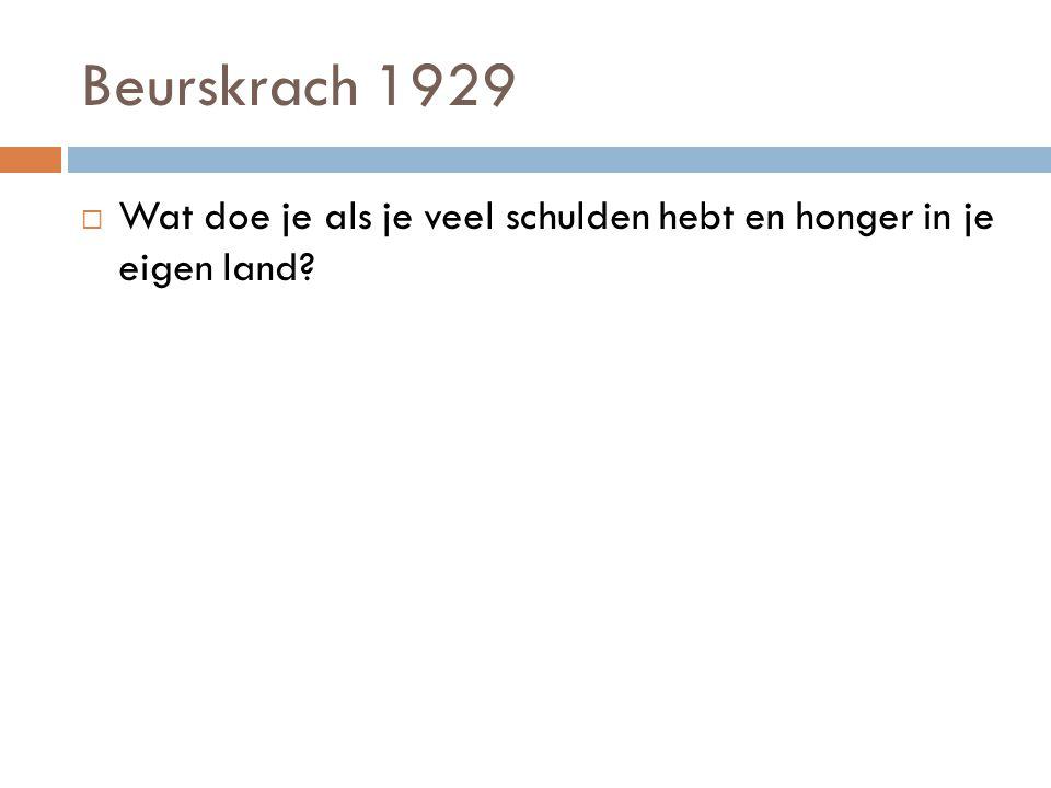 Beurskrach 1929 Wat doe je als je veel schulden hebt en honger in je eigen land