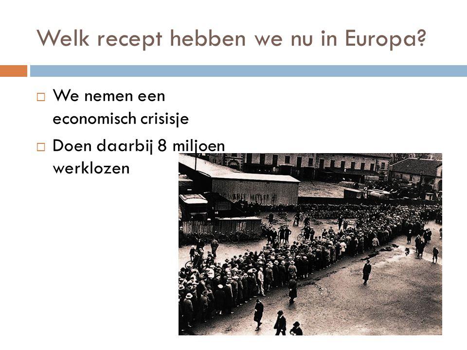 Welk recept hebben we nu in Europa