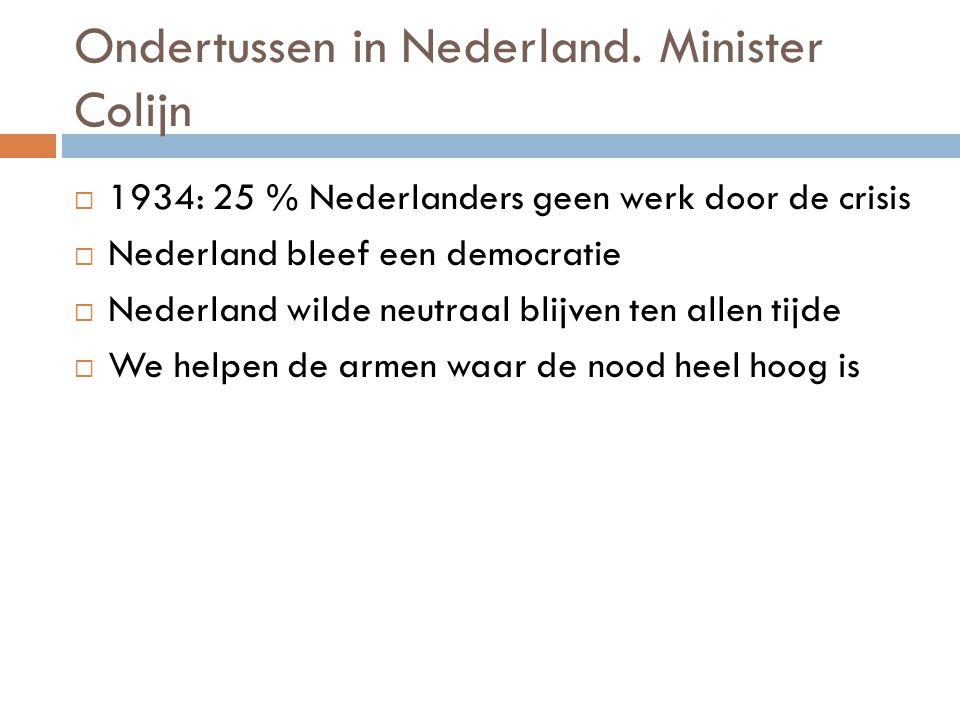 Ondertussen in Nederland. Minister Colijn