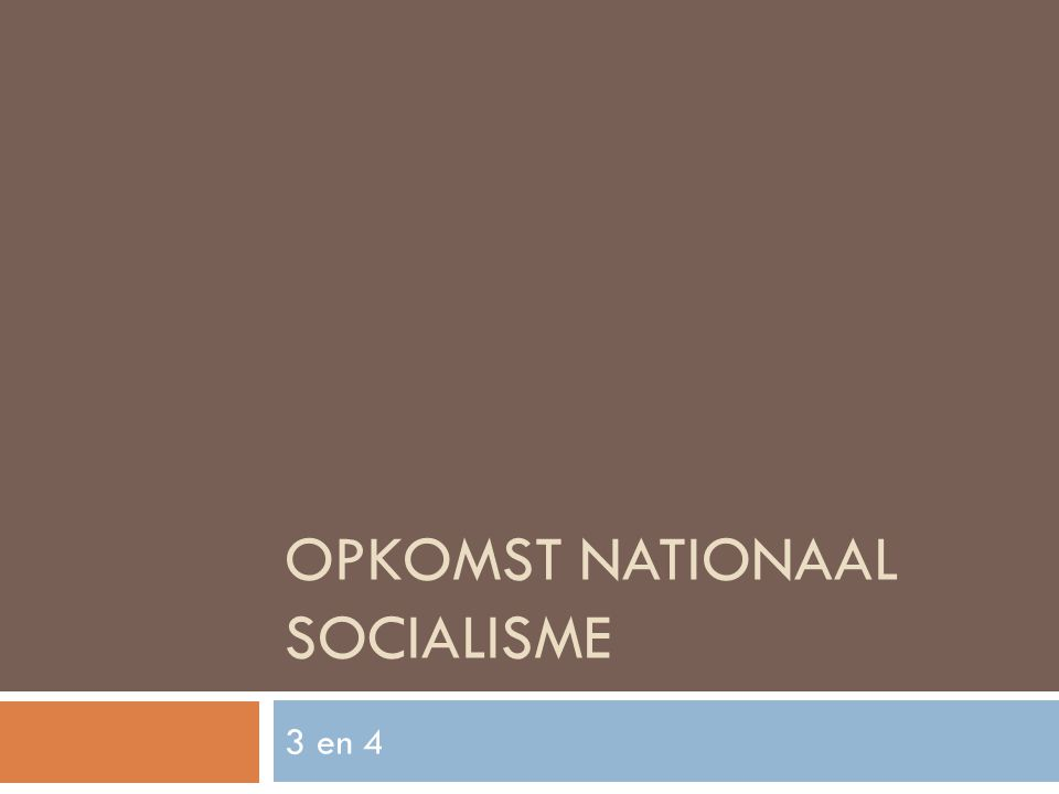 Opkomst Nationaal Socialisme