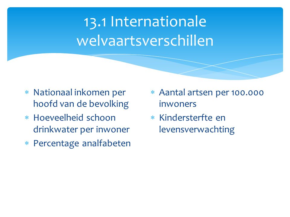 13.1 Internationale welvaartsverschillen