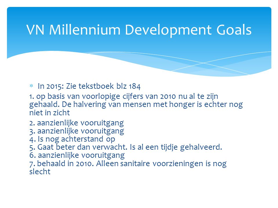 VN Millennium Development Goals