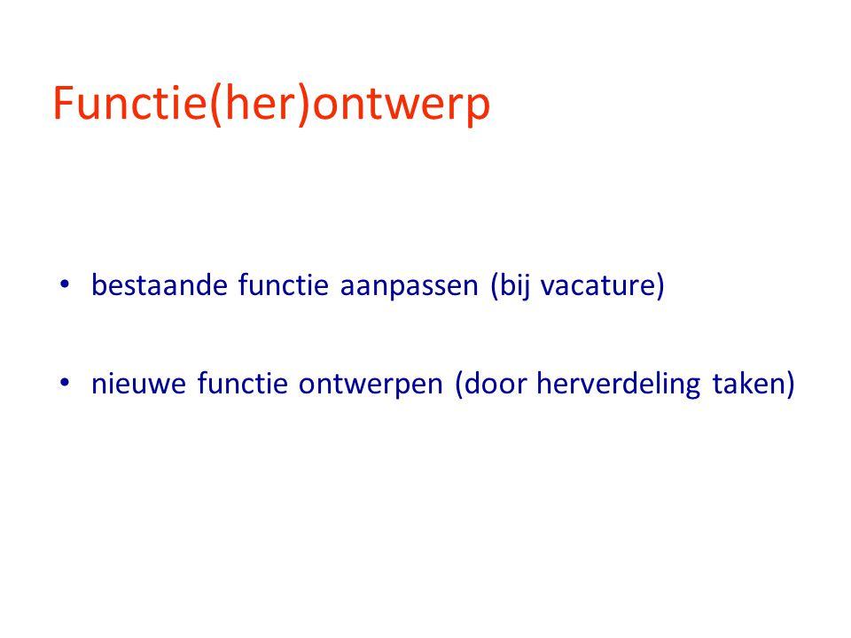 Functie(her)ontwerp bestaande functie aanpassen (bij vacature)