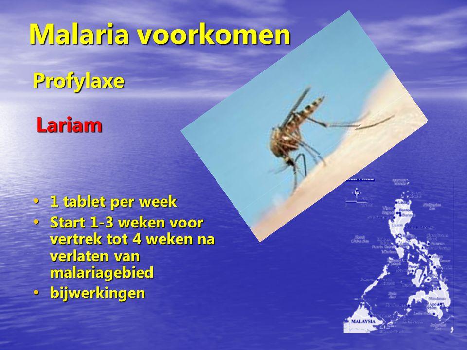 Malaria voorkomen Profylaxe Lariam 1 tablet per week