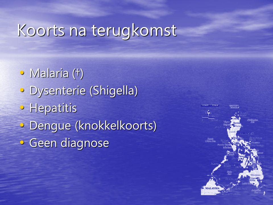 Koorts na terugkomst Malaria (†) Dysenterie (Shigella) Hepatitis