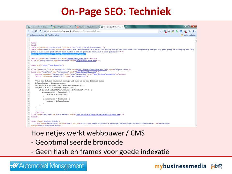 On-Page SEO: Techniek Hoe netjes werkt webbouwer / CMS