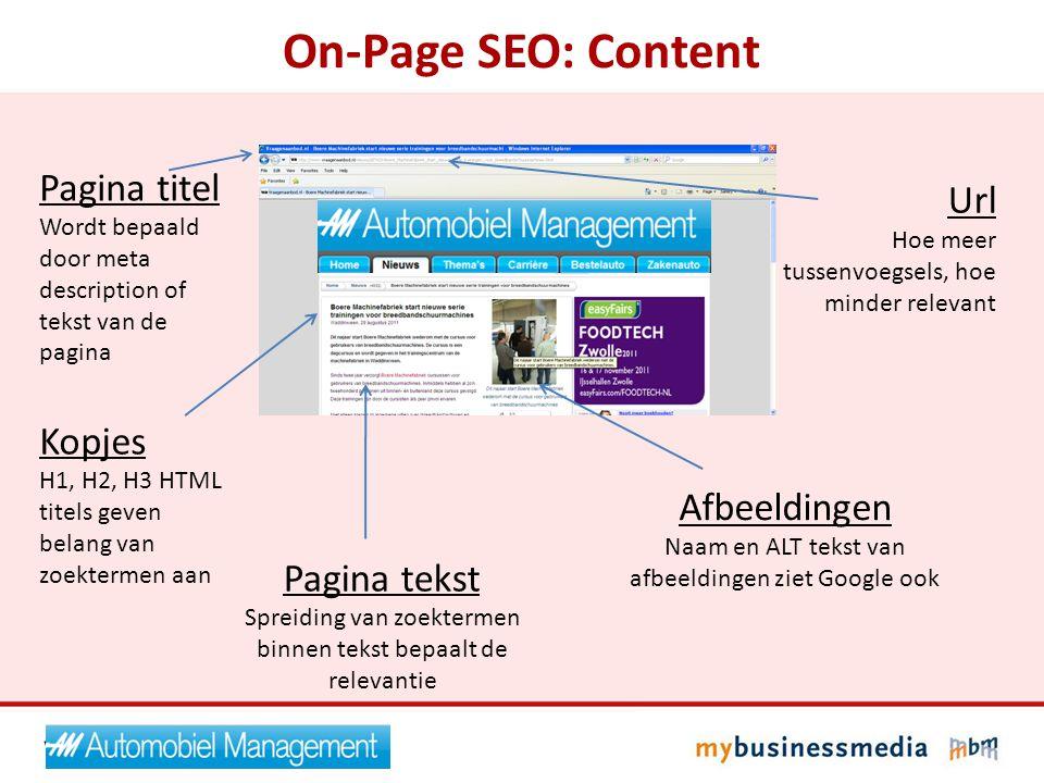 On-Page SEO: Content Pagina titel Url Kopjes Afbeeldingen Pagina tekst