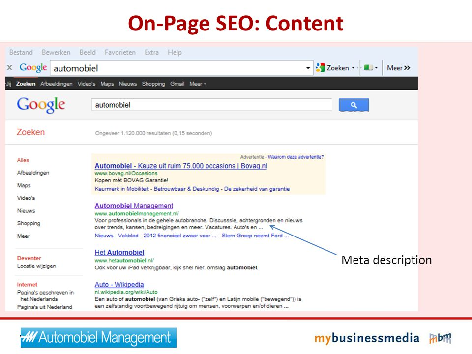 On-Page SEO: Content Meta description