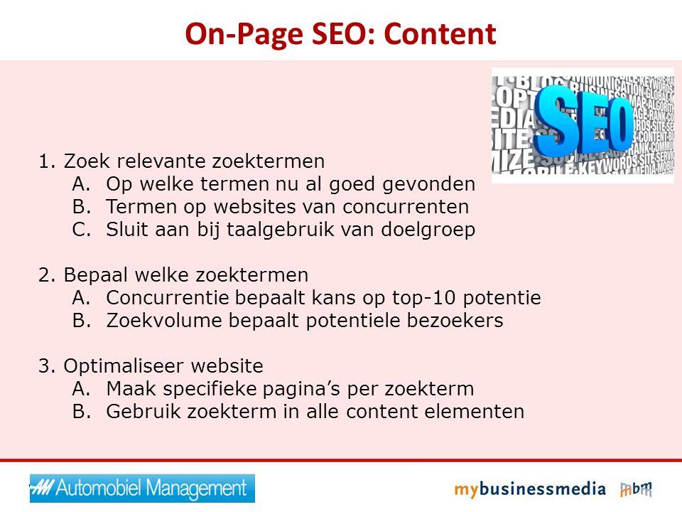 On-Page SEO: Content Zoek relevante zoektermen