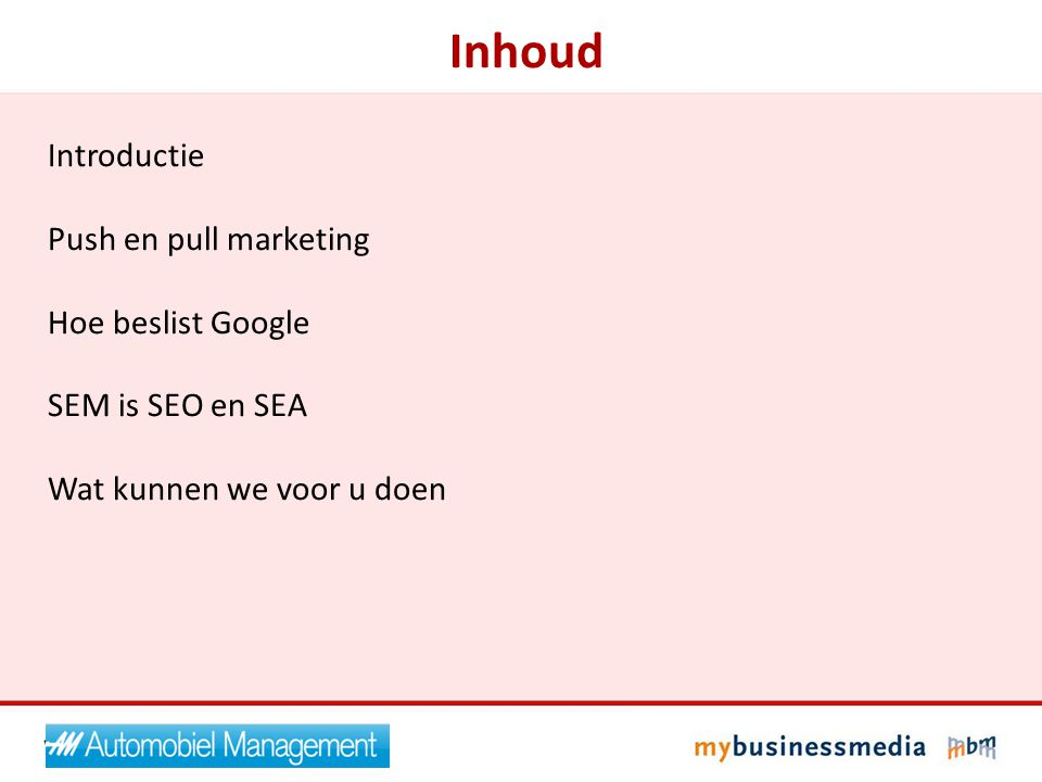 Inhoud Introductie Push en pull marketing Hoe beslist Google