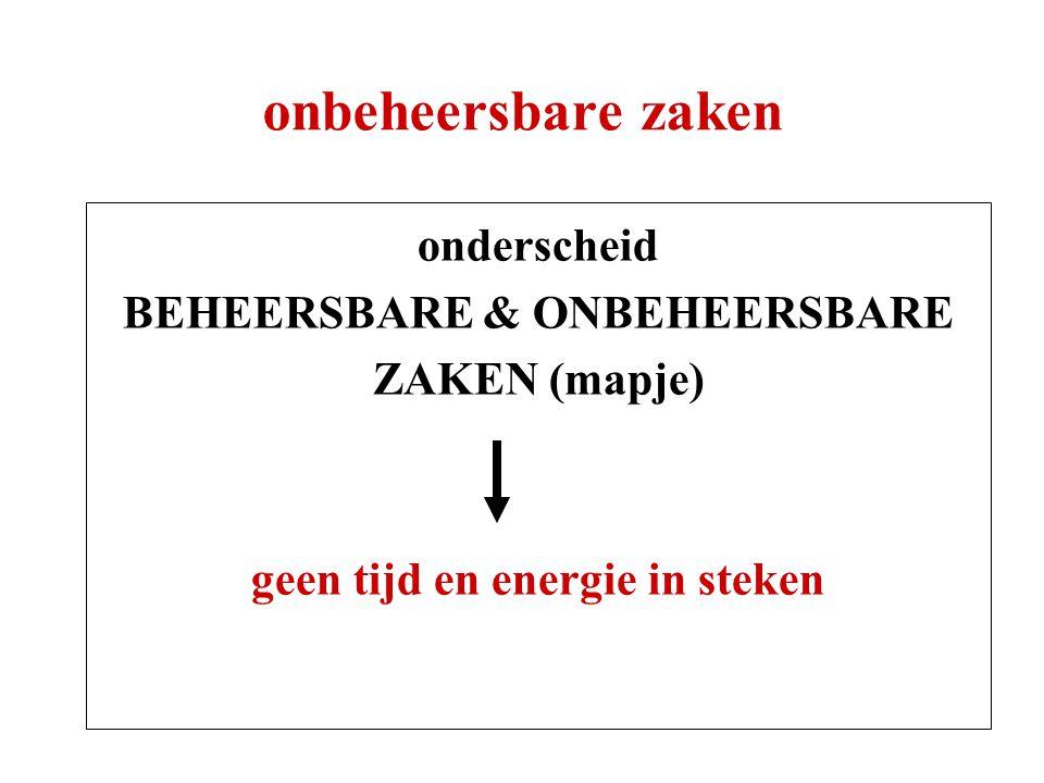 BEHEERSBARE & ONBEHEERSBARE geen tijd en energie in steken