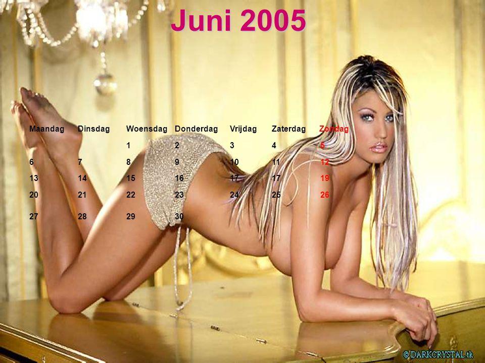 Juni 2005 Maandag Dinsdag Woensdag Donderdag Vrijdag Zaterdag Zondag