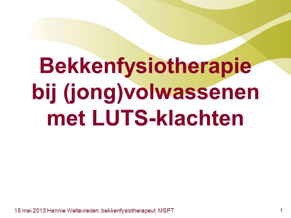 Bekkenfysiotherapie bij (jong)volwassenen met LUTS-klachten