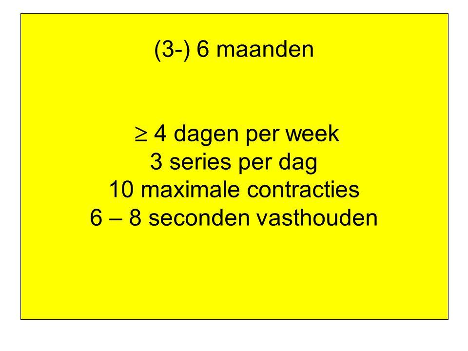 (3-) 6 maanden  4 dagen per week 3 series per dag
