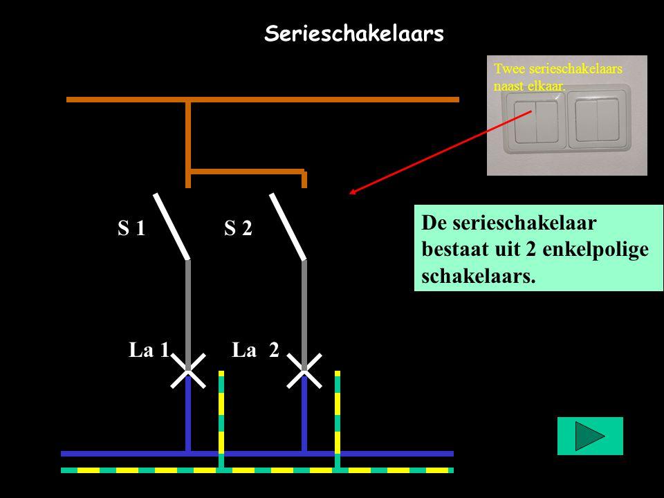 De serieschakelaar bestaat uit 2 enkelpolige schakelaars. S 1 S 2