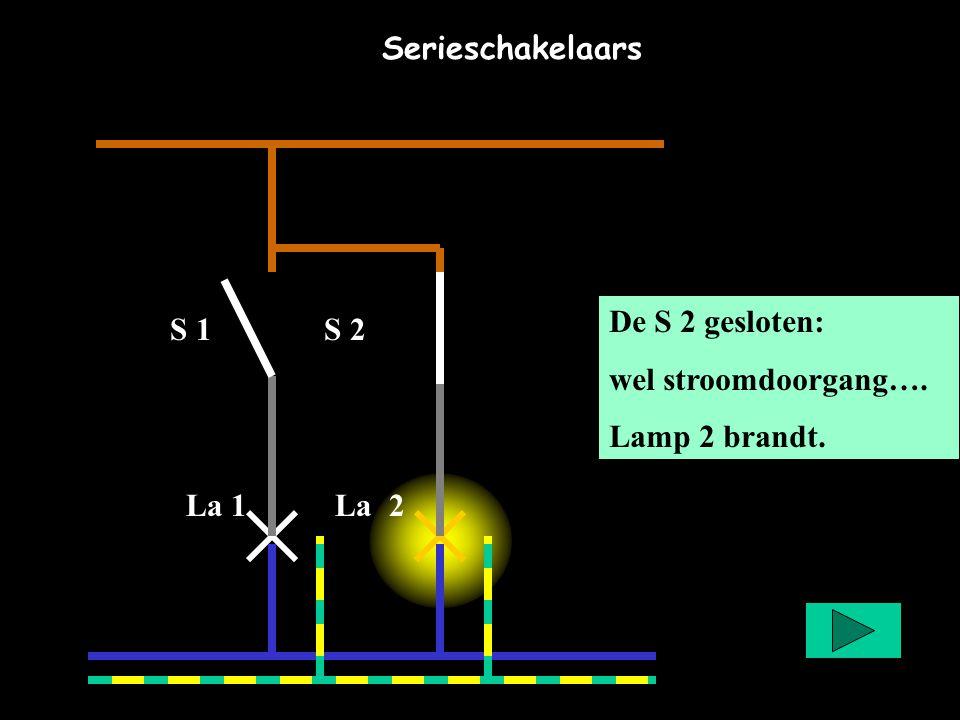 Serieschakelaars De S 2 gesloten: wel stroomdoorgang….