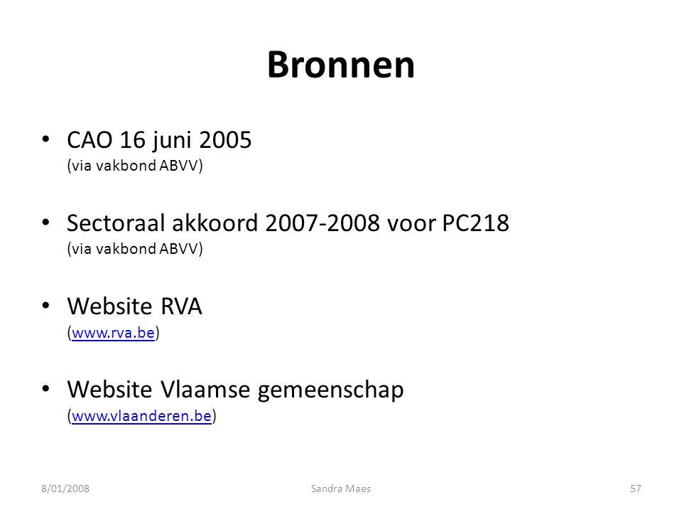 Bronnen CAO 16 juni 2005 (via vakbond ABVV)