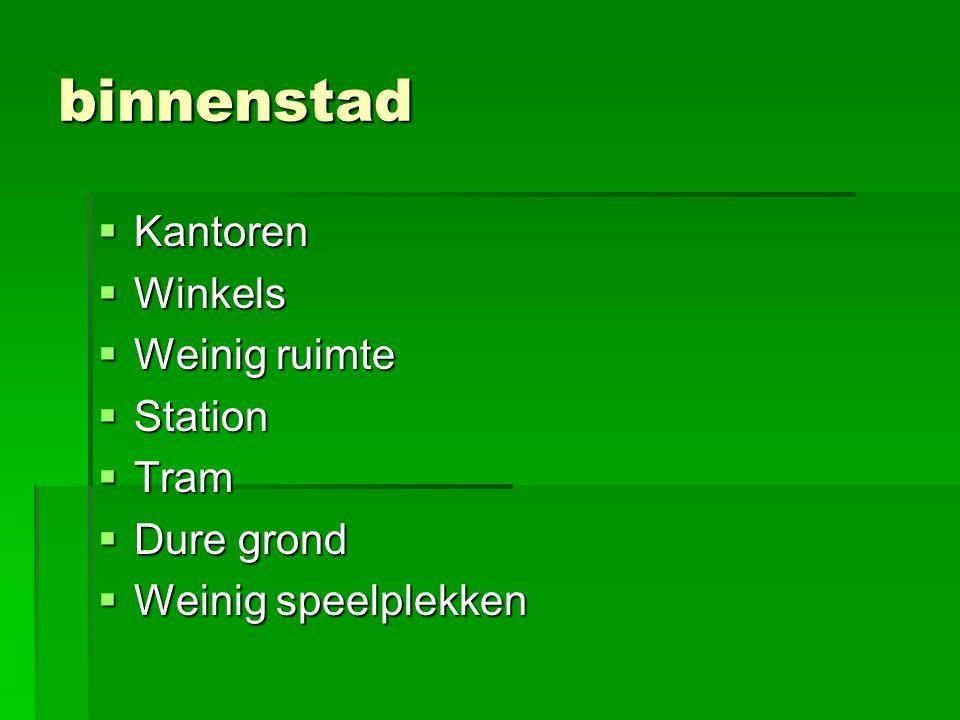binnenstad Kantoren Winkels Weinig ruimte Station Tram Dure grond