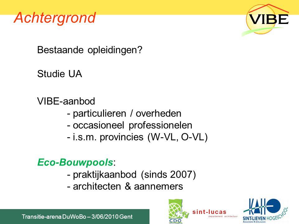Achtergrond Bestaande opleidingen Studie UA VIBE-aanbod