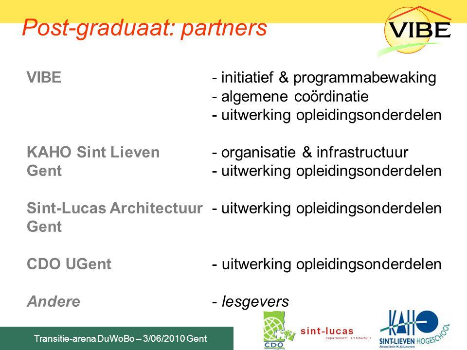 Post-graduaat: partners