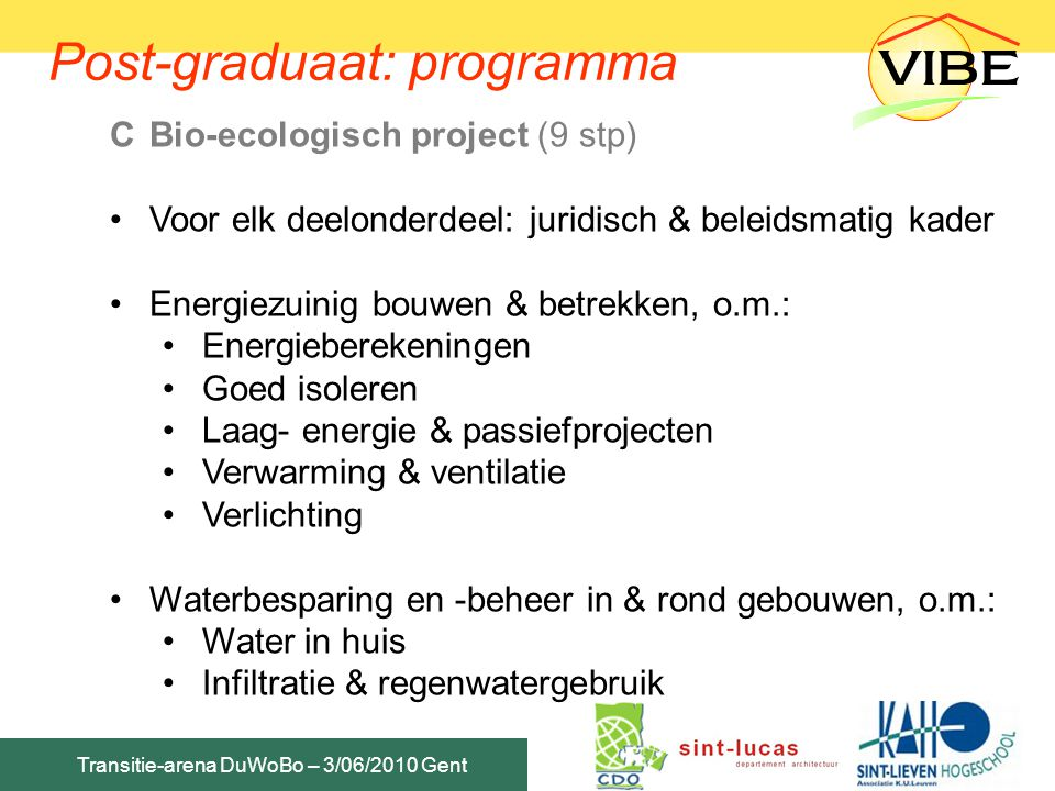 Post-graduaat: programma