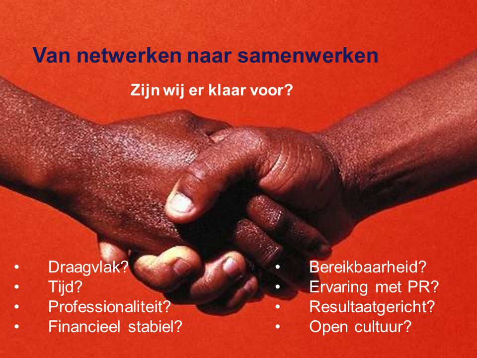 Van netwerken naar samenwerken