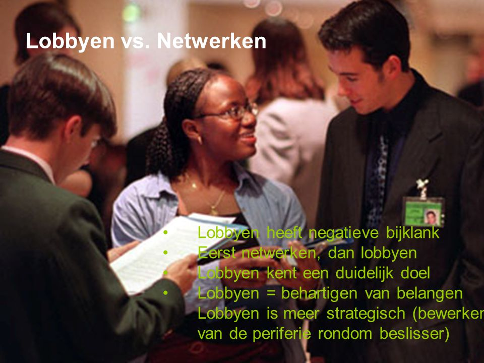 Lobbyen vs. Netwerken Lobbyen heeft negatieve bijklank