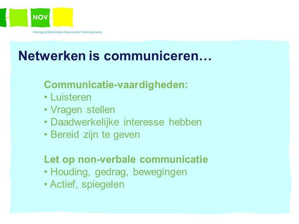 Netwerken is communiceren…