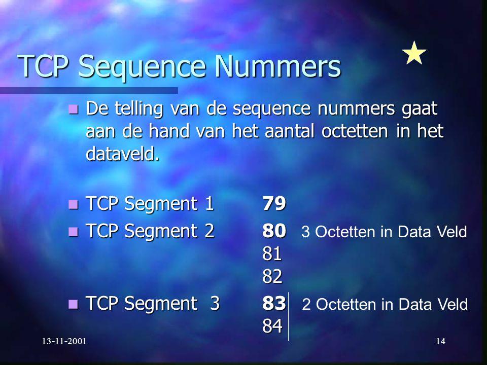 TCP Sequence Nummers De telling van de sequence nummers gaat aan de hand van het aantal octetten in het dataveld.