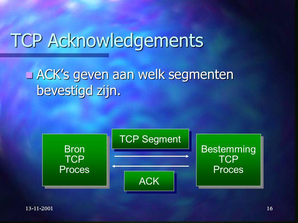 TCP Acknowledgements ACK's geven aan welk segmenten bevestigd zijn.