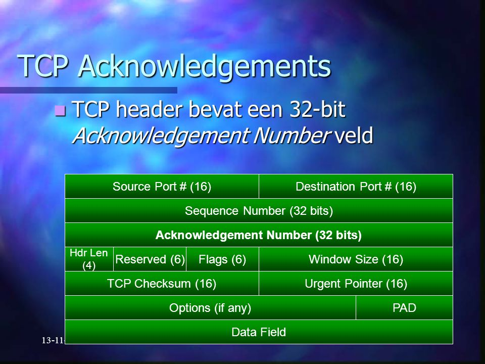 Acknowledgement Number (32 bits)