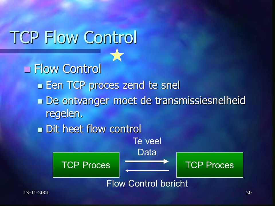TCP Flow Control Flow Control Een TCP proces zend te snel