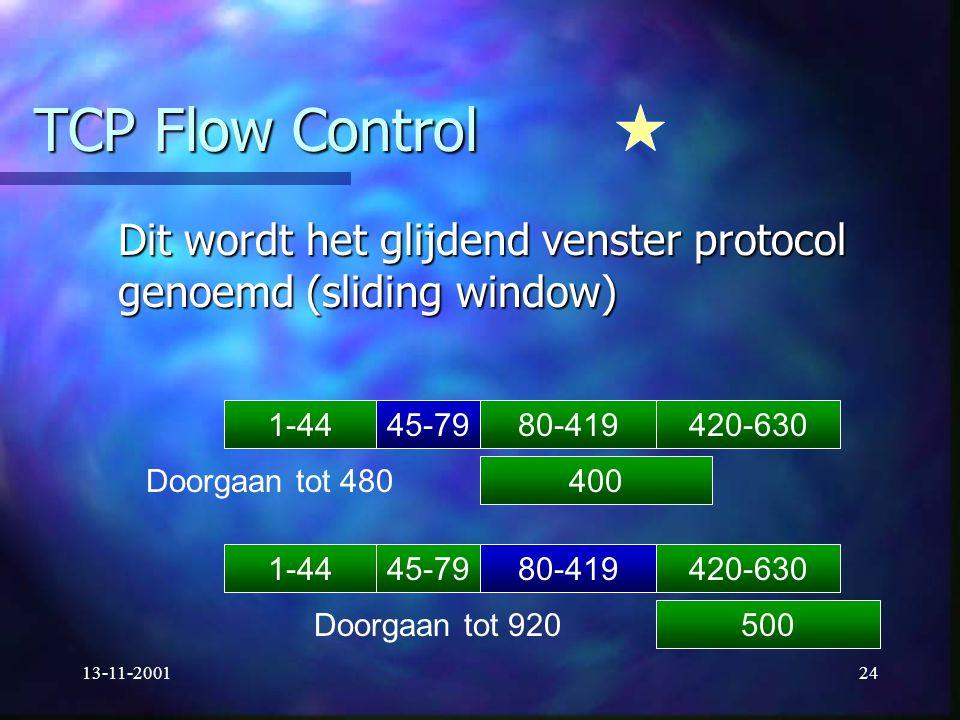 TCP Flow Control Dit wordt het glijdend venster protocol genoemd (sliding window) 1-44. 45-79. 80-419.