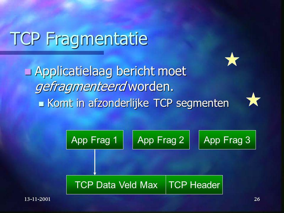 TCP Fragmentatie Applicatielaag bericht moet gefragmenteerd worden.