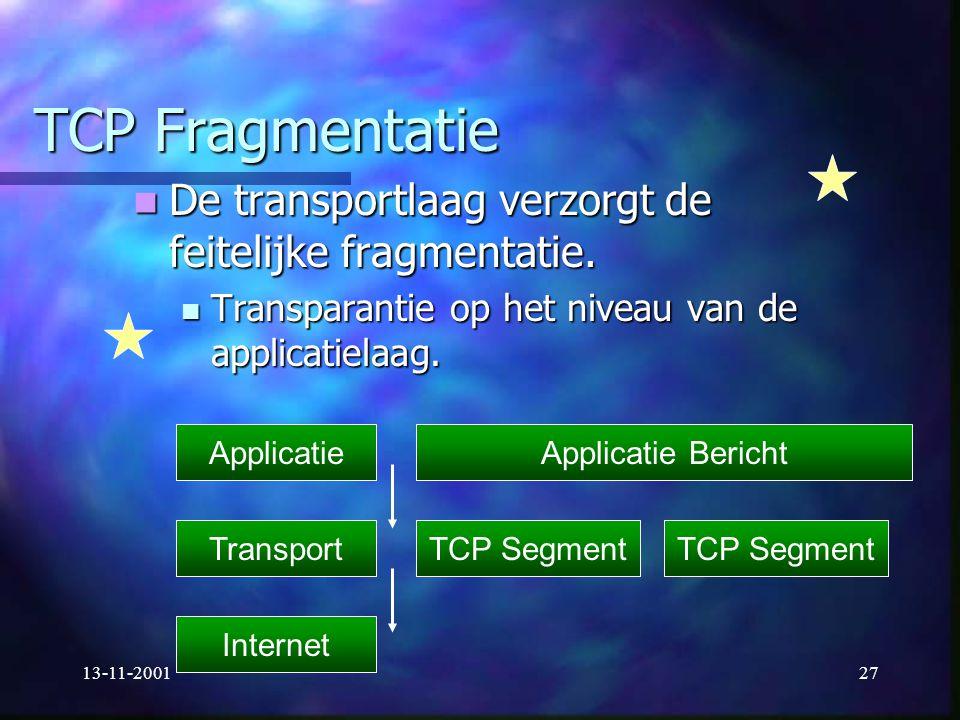 TCP Fragmentatie De transportlaag verzorgt de feitelijke fragmentatie.