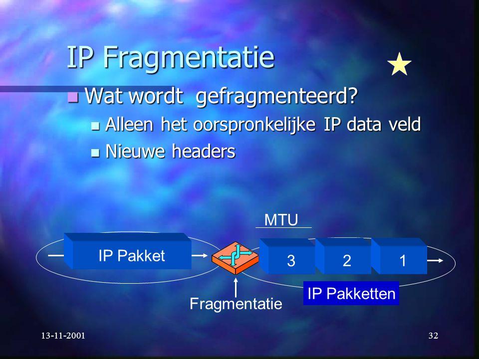IP Fragmentatie Wat wordt gefragmenteerd
