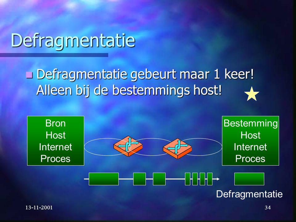 Defragmentatie Defragmentatie gebeurt maar 1 keer! Alleen bij de bestemmings host! Bron. Host. Internet.