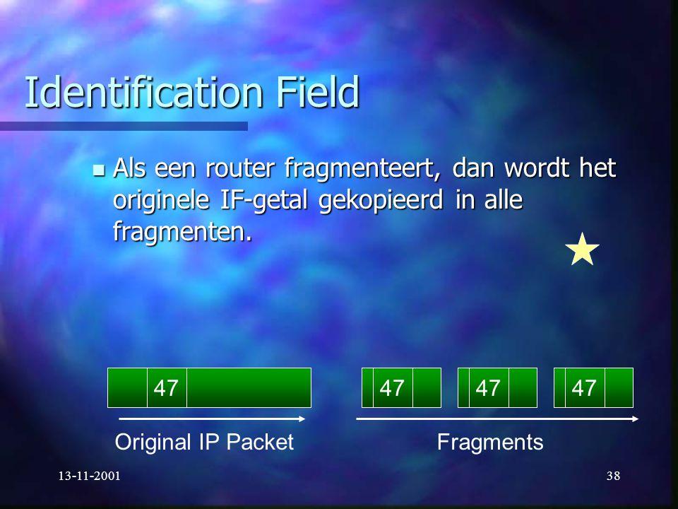Identification Field Als een router fragmenteert, dan wordt het originele IF-getal gekopieerd in alle fragmenten.