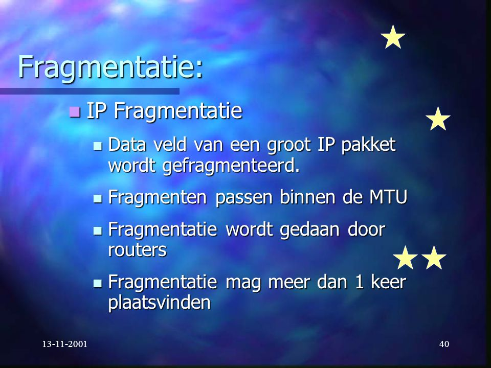 Fragmentatie: IP Fragmentatie