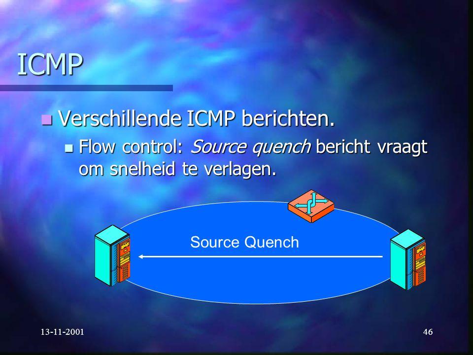 ICMP Verschillende ICMP berichten.