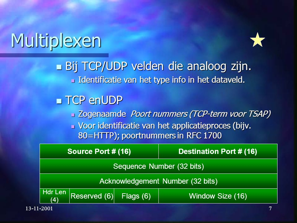 Multiplexen Bij TCP/UDP velden die analoog zijn. TCP enUDP