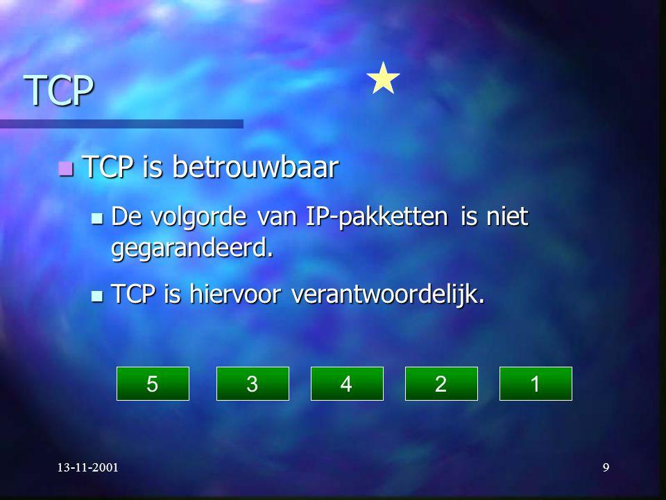 TCP TCP is betrouwbaar. De volgorde van IP-pakketten is niet gegarandeerd. TCP is hiervoor verantwoordelijk.