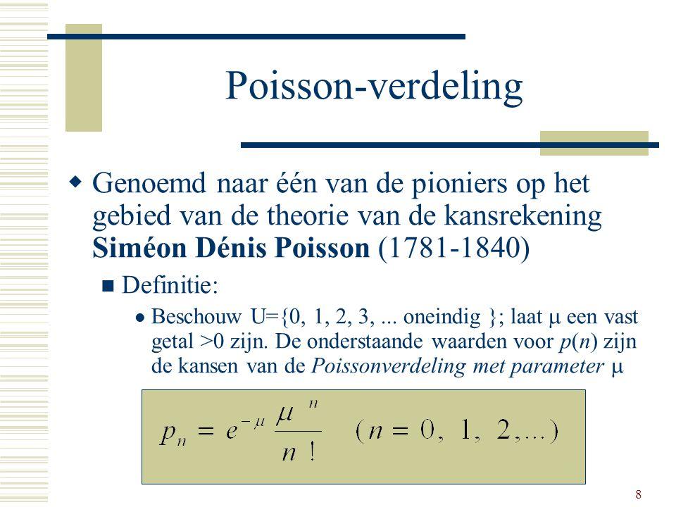 Poisson-verdeling Genoemd naar één van de pioniers op het gebied van de theorie van de kansrekening Siméon Dénis Poisson (1781-1840)